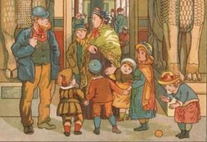 family outside museum
